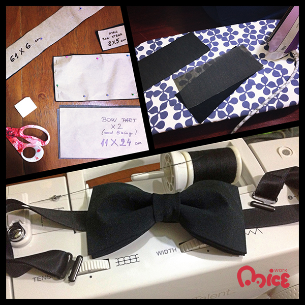 Almost the entire process of making my first bow-tie in one picture.